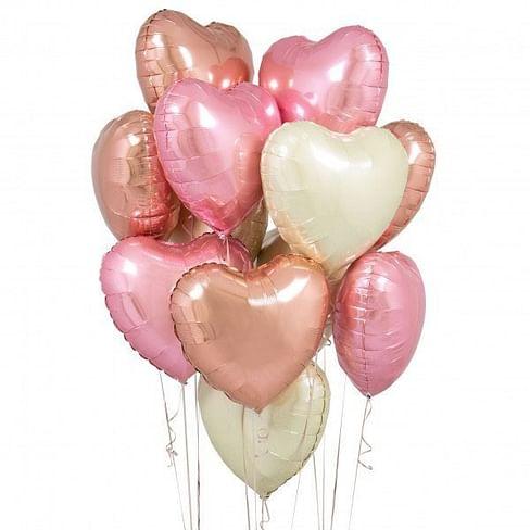 Букет из 15 шаров в форме сердца, фольгированные