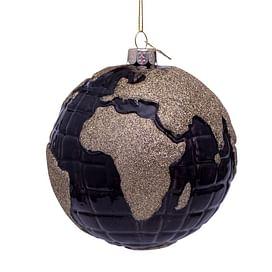Новогоднее украшение Vondels Black globe w/gold glitter print Арт.1201290120013