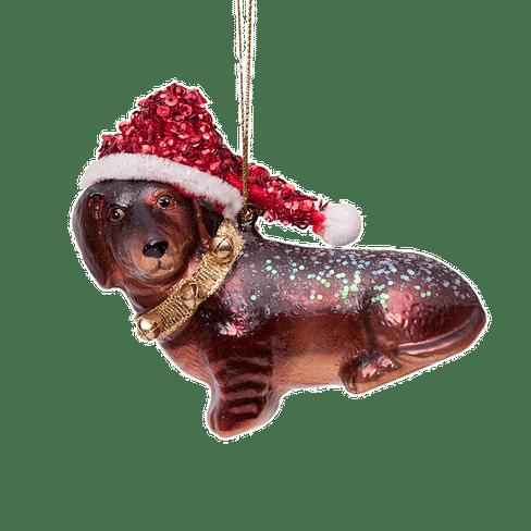 Новогоднее украшение Vondels Little dachshund w/hat Арт.1162250080023