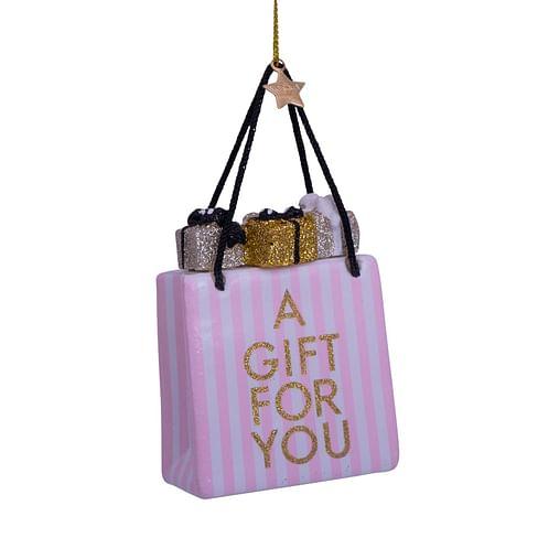 Новогоднее украшение Vondels Soft pink/ white striped giftbag Арт.4212870085018