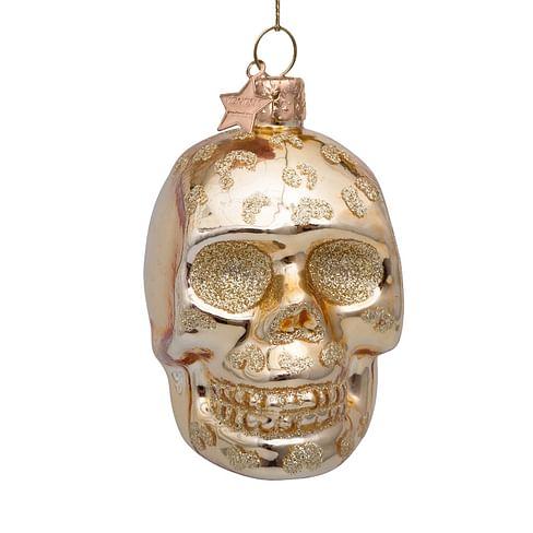 Новогоднее украшение Vondels Shiny gold skull head w/leopard print Арт.1212131080038