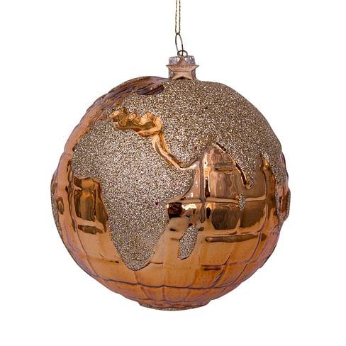 Новогоднее украшение Vondels Shiny gold globe w/gold glitter print Арт.3211210100016