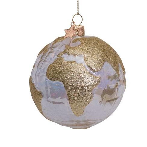 Новогоднее украшение Vondels Transp. oil globe w/gold glitter print Арт.1211290100014