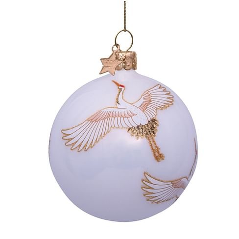 Новогоднее украшение Vondels White opal w/crane birds allover Арт.5211290080213