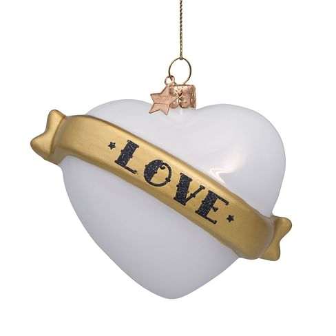 Новогоднее украшение Vondels White opal heart w/text love Арт.4211322085019