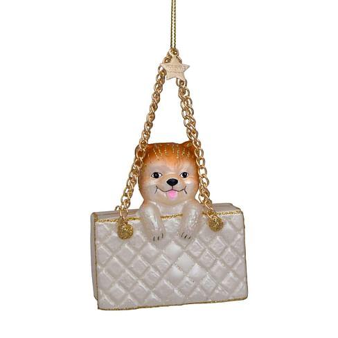 Новогоднее украшение Vondels Champagne matt fashion bag w/dog Арт.4212250070030