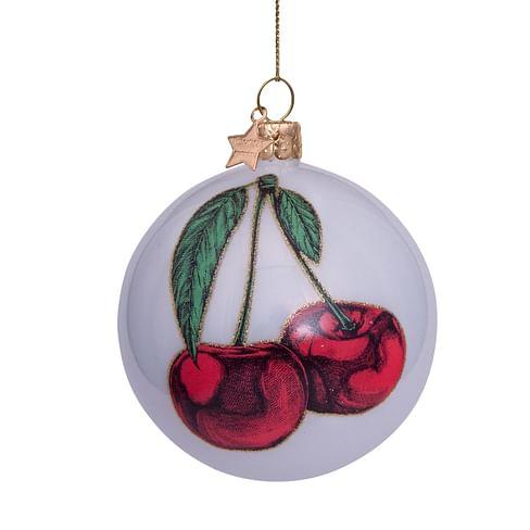 Новогоднее украшение Vondels White opal w/red cherry Арт.4211290080139