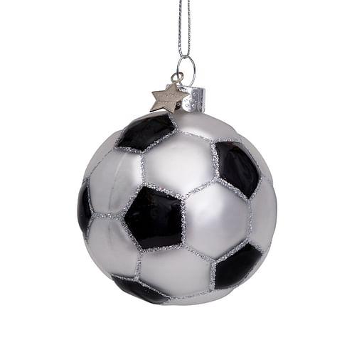 Новогоднее украшение Vondels White/black glitter football Арт.1212600070010