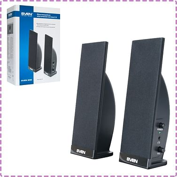 Колонки SVEN Колонки 2.0 SVEN 235 Black (Напряжение питания 220 В, 50 Гц; 4 Вт, частотный диапазон 100 – 20000 Гц, mini jack, материал колонок: пластик)