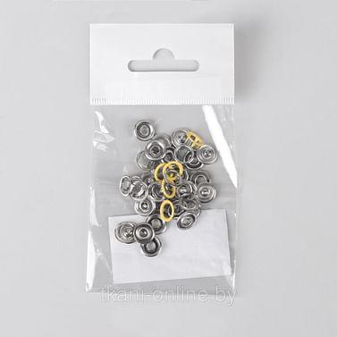 Кнопка 9,5 мм рубашечная открытая (кольцо) желтая (упаковка 10 шт)