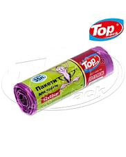Пакет для мусора MIX 50*60/35л 15шт. (фиолетовый с ушами) Качество! Top pack