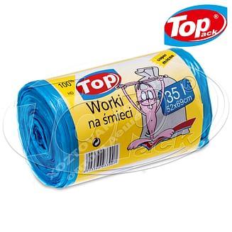 Пакет для мусора MIX 50*60/35л 100шт. (голубой с ушами) Top pack