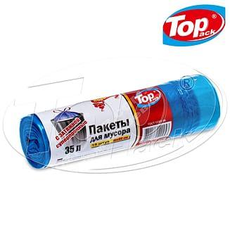 Пакет для мусора 50*60/35л 15шт. (голубой с затяжкой) Top pack