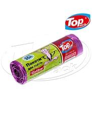 Пакет для мусора 50*60/35л 15шт (фиолетовый с затяжкой) Top pack