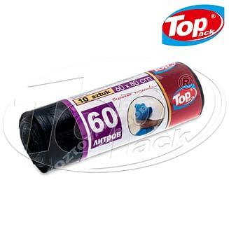 Пакет для мусора 60*80/60л 10шт. (черный с затяжкой) Top pack