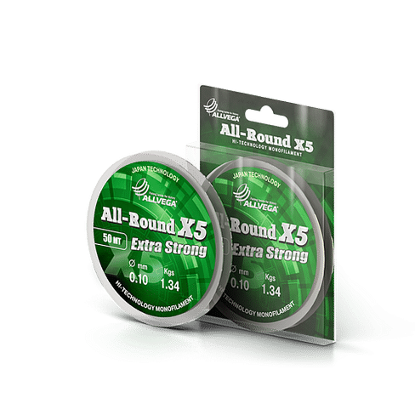 Леска Allvega All-Round Х5 50м 0,10мм (1,34кг) прозрачная