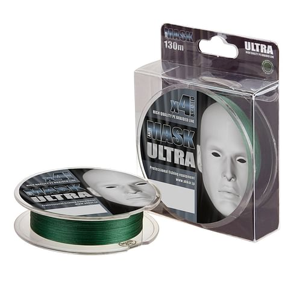 Плетёный шнур Akkoi MASK ULTRA темно-зелёный, размотка 130м, диаметр 0,16мм, тест 6,80кг