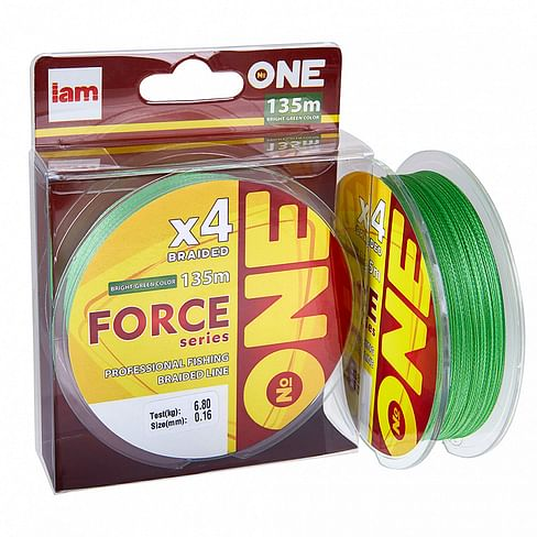 Плетёный шнур I AM Number ONE Force 4X-135 Bright-green 0.28mm