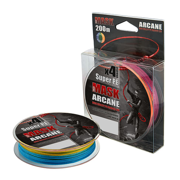 Плетёный шнур Akkoi MASK ARCANE мультиколор, размотка 200м, диаметр 0,40мм, тест 27,22кг