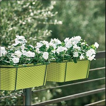 Цветочный ящик Ротанг с креплениями на перила