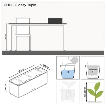Кашпо - ящик настольное lechuza cube glossy Triple