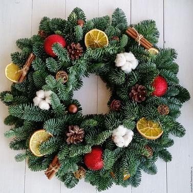 Рождественский большой венок 45см пихта