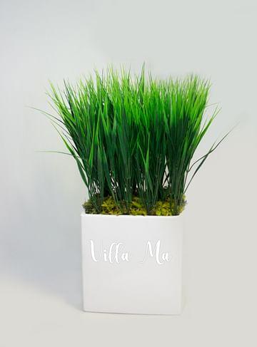 Трава искусств. в квадратном кашпо керамика