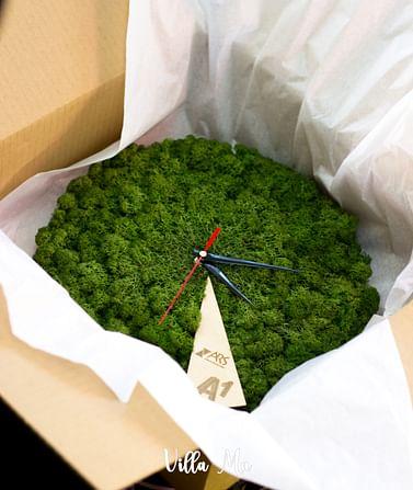 Часы настенные из мха