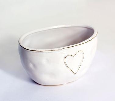 Кашпо лодочка сердце керамика