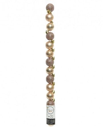 Набор фигур шары из пластика для украшения елки /розово золот.