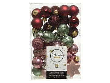 Набор шариков новогодних пластик. 33шт