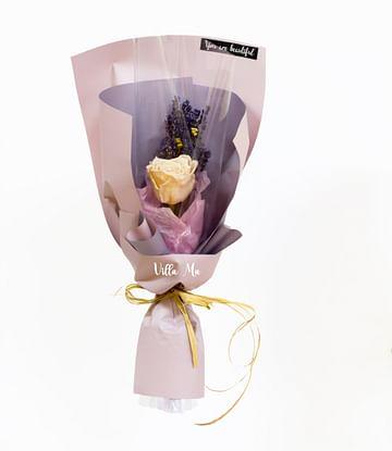 Букет Вечная роза и лаванда корейская упаковка