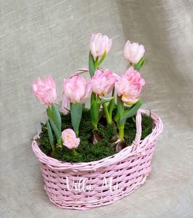 Корзина плетеная розовая