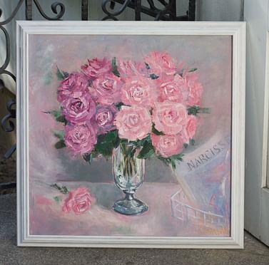 Розовые розы 65*65 картина маслом